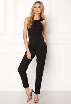 Goddiva Pleat Neckline Jumpsuit Black Bubbleroom.fi