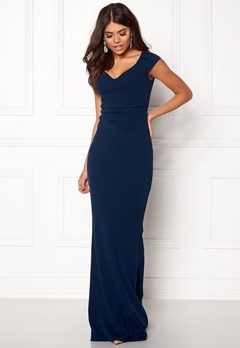 Goddiva Pleated Maxi Dress Navy Bubbleroom.fi
