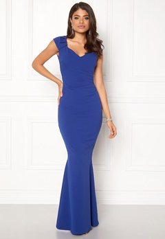Goddiva Pleated Maxi Dress Royal Blue Bubbleroom.fi