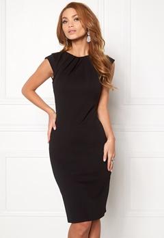 Goddiva Pleated Neckline Dress Black 1 Bubbleroom.fi