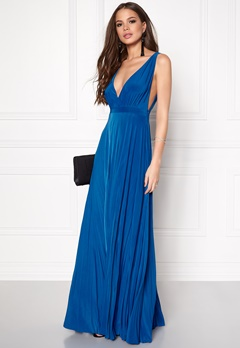 Goddiva Pleated Oscar Dress Royal Blue Bubbleroom.fi