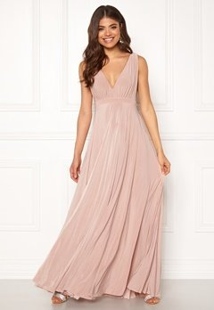 Goddiva Pleated Oscar Maxi Dress Latte Bubbleroom.fi