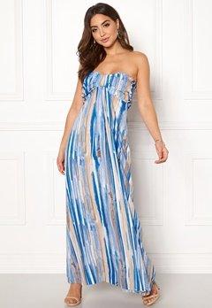 Goddiva Resort Bandeau Maxi Dress Blue Multi Bubbleroom.fi