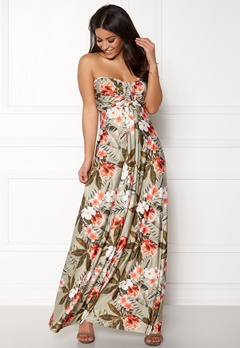 Goddiva Resort Bandeau Maxi Dress Tropical Print Bubbleroom.fi