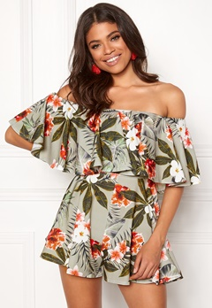 Goddiva Resort Bardot Frill Playsuit Tropical Print Bubbleroom.fi