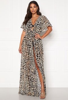 Goddiva Resort Chiffon Maxi Kaftan Animal Print Bubbleroom.fi