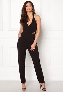 Goddiva Resort Gold Buckle Jumpsuit Black Bubbleroom.fi