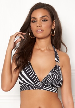 Goddiva Resort Halterneck Bikini Top Abstract Stripe Bubbleroom.fi