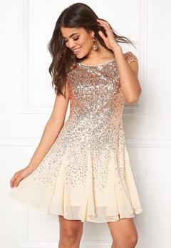Goddiva Sequin And Chiffon Dress Champagne Bubbleroom.fi