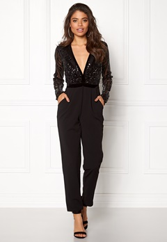 Goddiva Sequin Bodice Jumpsuit Black Bubbleroom.fi