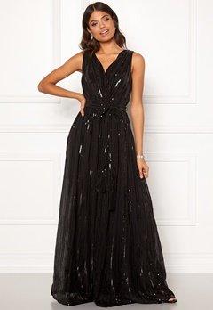 Goddiva Sequin Chiffon Maxi Dress Black Bubbleroom.fi