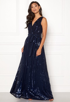 Goddiva Sequin Chiffon Maxi Dress Navy Bubbleroom.fi