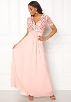 Goddiva Sequin Chiffon Maxi Dress Nude Bubbleroom.fi