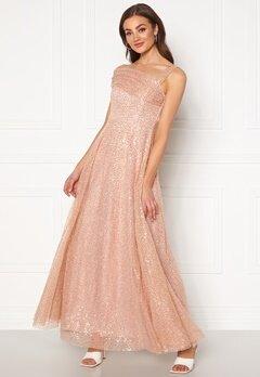 Goddiva Sequin One Shoulder Bardot Maxi Dress Champagne Bubbleroom.fi