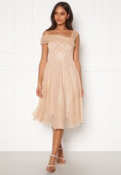 Goddiva Sequin One Shoulder Bardot Midi Dress Champagne Bubbleroom.fi