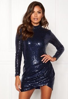 Goddiva Sequin Open Mini Dress Navy Bubbleroom.fi