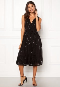 Goddiva Sequin Skater Dress Black Bubbleroom.fi