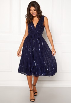 Goddiva Sequin Skater Dress Navy Bubbleroom.fi