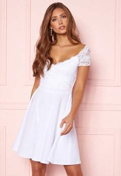 Goddiva Short Sleeve Lace Trim Skater Dress White Bubbleroom.fi