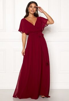 Goddiva Sleeve Chiffon Maxi Dress Berry Bubbleroom.fi