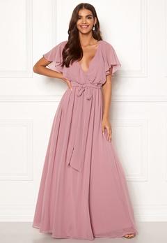 Goddiva Sleeve Chiffon Maxi Dress Lavender Bubbleroom.fi