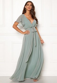 Goddiva Sleeve Chiffon Maxi Dress Sage Green Bubbleroom.fi