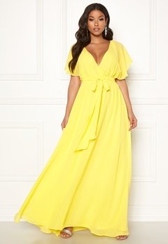 Goddiva Sleeve Chiffon Maxi Dress Soft Lemon Bubbleroom.fi