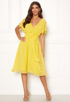Goddiva Sleeve Chiffon Midi Dress Soft Lemon Bubbleroom.fi
