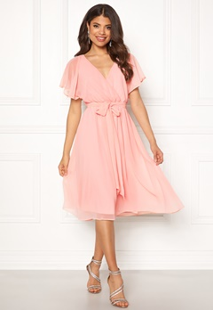 Goddiva Sleeve Chiffon Midi Dress Soft Pink Bubbleroom.fi