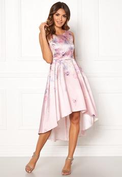 Goddiva Sleeveless High Low Dress Pink Satin Print Bubbleroom.fi