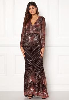 Goddiva Starburst Sequin Dress Black/gold Bubbleroom.fi