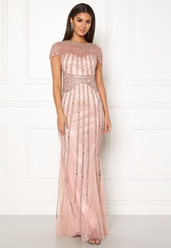 Goddiva Sunray Embellished Dress Nude Bubbleroom.fi
