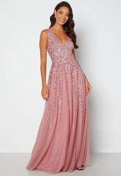 Goddiva Sunray Sequin Maxi Dress Rose bubbleroom.fi