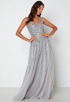 Goddiva Sunray Sequin Maxi Dress silver bubbleroom.fi