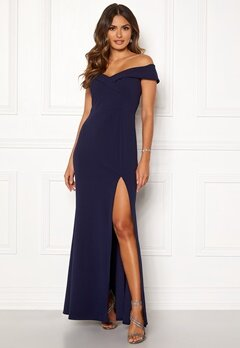Goddiva Sweetheart Maxi Dress Navy Bubbleroom.fi