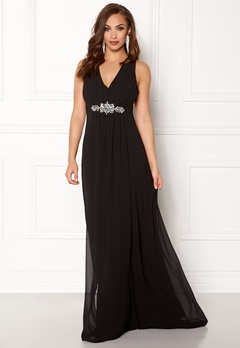 Goddiva V Neck Embellished Dress Black Bubbleroom.fi