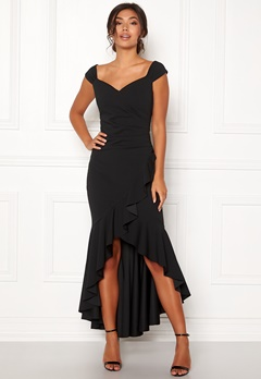 Goddiva Wrap Front Frill Dress Black Bubbleroom.fi