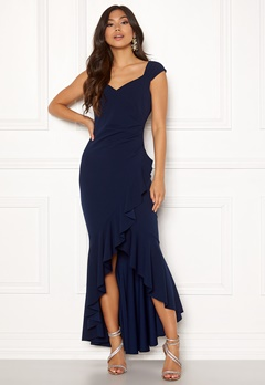 Goddiva Wrap Front Frill Dress Navy Bubbleroom.fi
