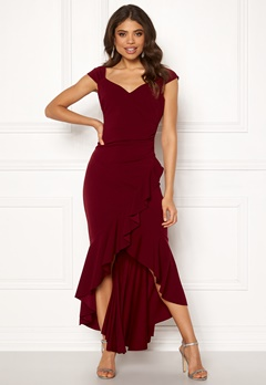 Goddiva Wrap Front Frill Dress Wine Bubbleroom.fi
