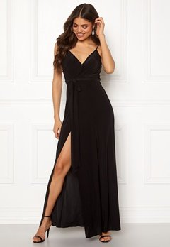 Goddiva Wrap Front Maxi Dress Black Bubbleroom.fi