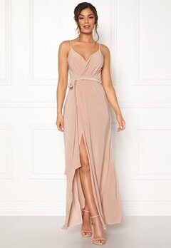 Goddiva Wrap Front Maxi Dress Latte Bubbleroom.fi