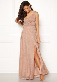 Goddiva Wrap Front Maxi Dress Nude Bubbleroom.fi