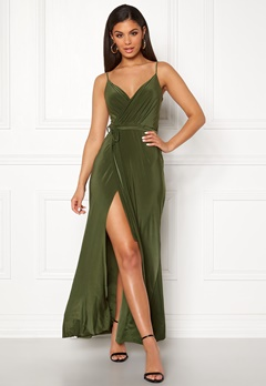 Goddiva Wrap Front Maxi Dress Olive Bubbleroom.fi