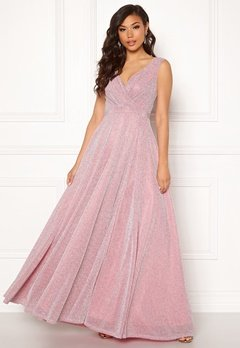 Goddiva Wrap Front Maxi Dress Pink Bubbleroom.fi