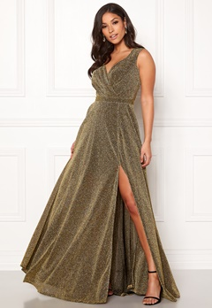 Goddiva Wrap Front Sleeve Dress Gold Bubbleroom.fi