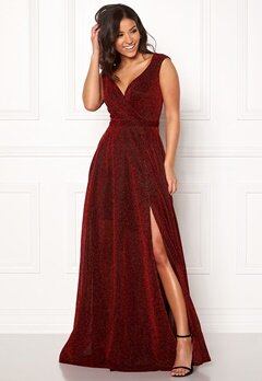 Goddiva Wrap Front Sleeve Dress Red Bubbleroom.fi