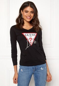 Guess LS VN Icon Tee Jet Black Bubbleroom.fi