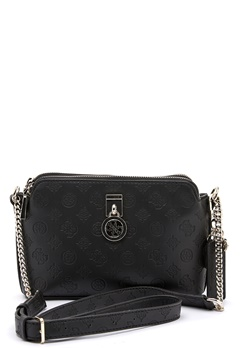 Guess Ninnette DBL Zip Crossbody BlacK Bubbleroom.fi