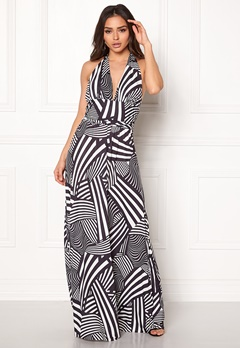 Goddiva Resort Halter Neck Maxi Dress Abstract Stripe Bubbleroom.fi