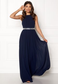 Goddiva Halterneck Chiffon Maxi Dress Navy Bubbleroom.fi